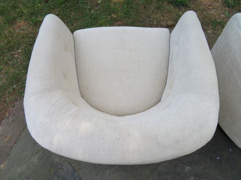 Wood Fantastic Pair of Milo Baughman Tall Swivel Base Barrel Back Lounge Chairs For Sale