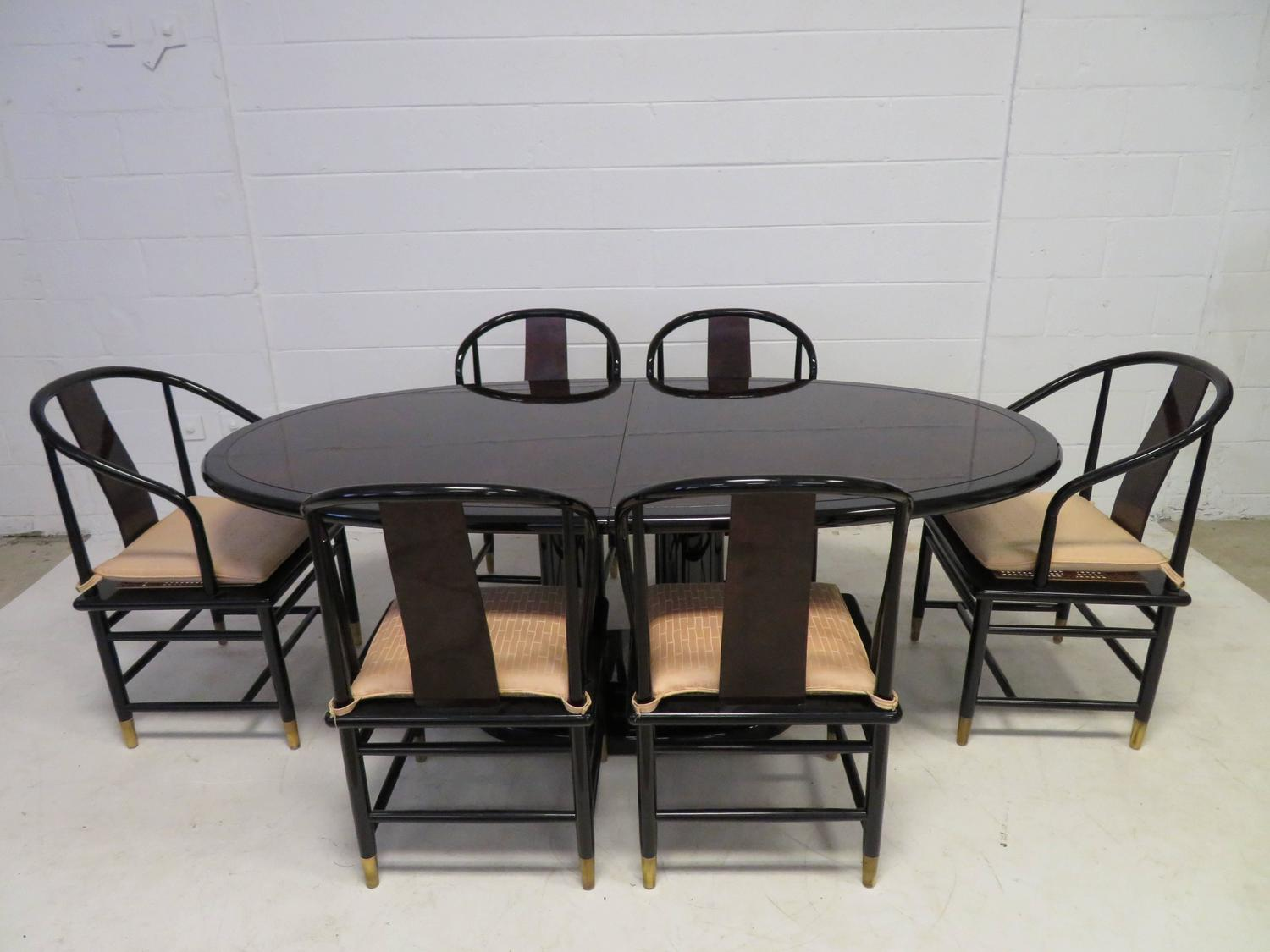 Fabulous set of six scene three asian style lacquered for Oriental dining room furniture for sale