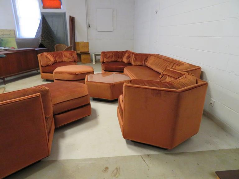 Incredible Spectacular Milo Baughman Style Octagon Sofa Sectional Four Spiritservingveterans Wood Chair Design Ideas Spiritservingveteransorg