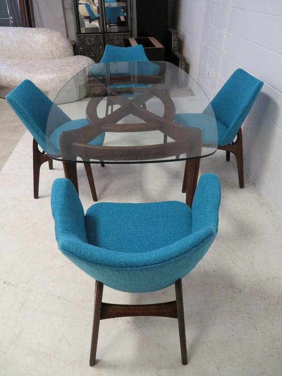Set of Four Adrian Pearsall Sculptural Walnut Dining Chairs For Sale 1