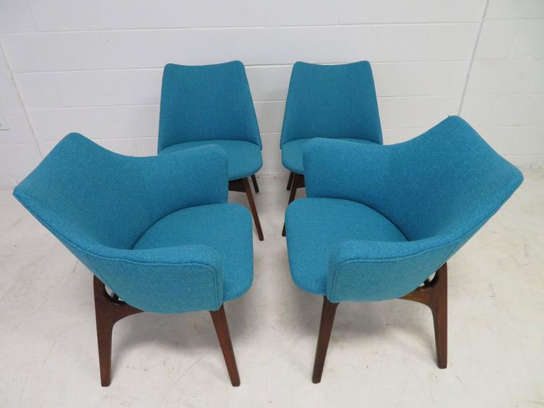 Mid-Century Modern Set of Four Adrian Pearsall Sculptural Walnut Dining Chairs For Sale