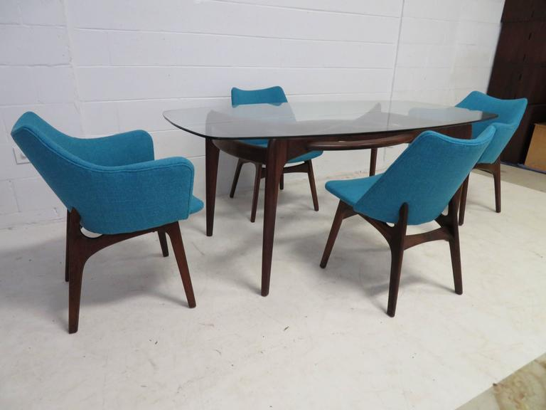 Set of Four Adrian Pearsall Sculptural Walnut Dining Chairs For Sale 2