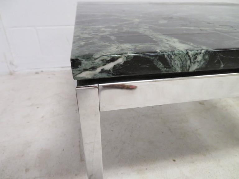 Late 20th Century Lovely Pair Florence Knoll Chrome Marble Side End Tables Mid-Century Modern For Sale