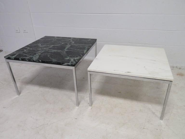 Lovely Pair Florence Knoll Chrome Marble Side End Tables Mid-Century Modern For Sale 2