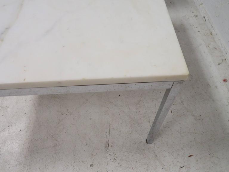 Lovely Pair Florence Knoll Chrome Marble Side End Tables Mid-Century Modern For Sale 3