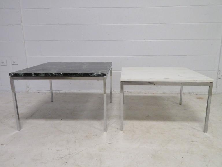 Lovely Pair Florence Knoll Chrome Marble Side End Tables Mid-Century Modern For Sale 5