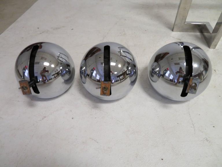 Set Of Three Lightolier Eyeball Track Lighting Fixtures