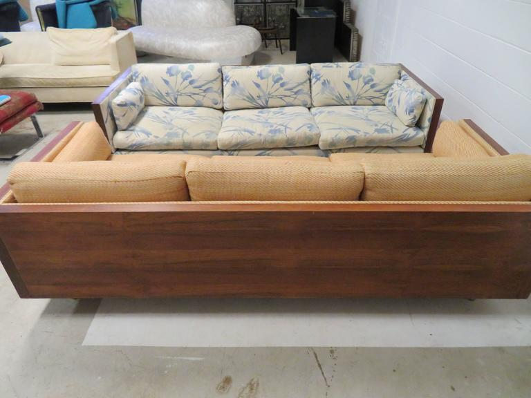 American Gorgeous Pair Of Milo Baughman Style Rosewood Case Sofas, Mid Century  Modern For