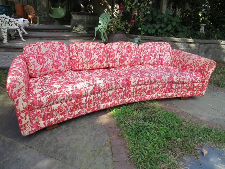 Charming Mid Century Modern Low Curved Sofa Selig For Sale