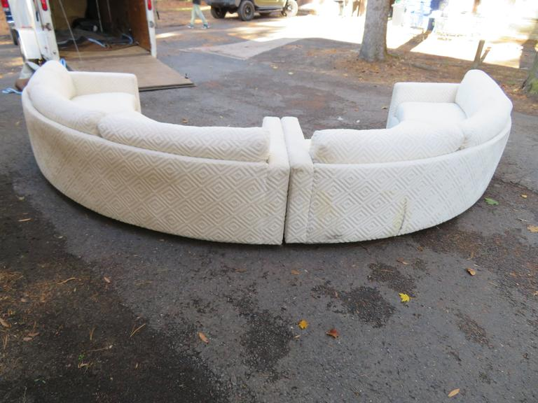 Mid Century Modern Fabulous Two Piece Milo Baughman Circular Sectional Sofa,  Mid