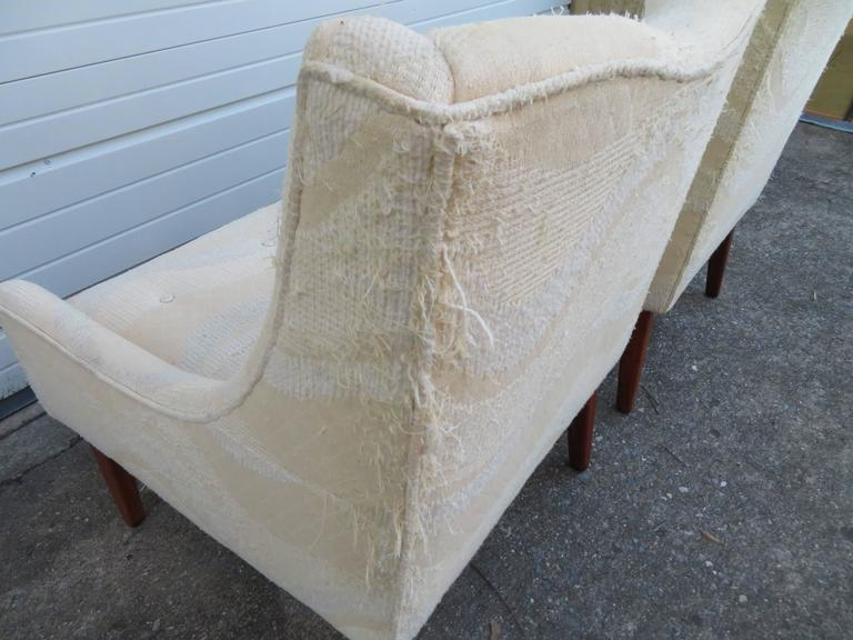 Pair of Slipper Lounge Chairs Mid-Century Modern For Sale 1