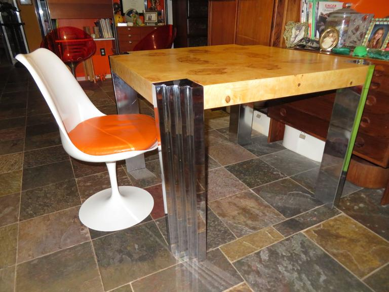 Excellent Burled Olivewood Chrome Leg Dining Table For Sale at 1stdibs