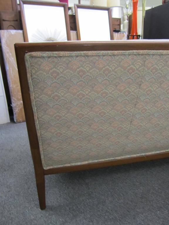 Upholstery Pair of T.H. Robsjohn-Gibbings Style Walnut Framed Sofas, Mid-Century Modern
