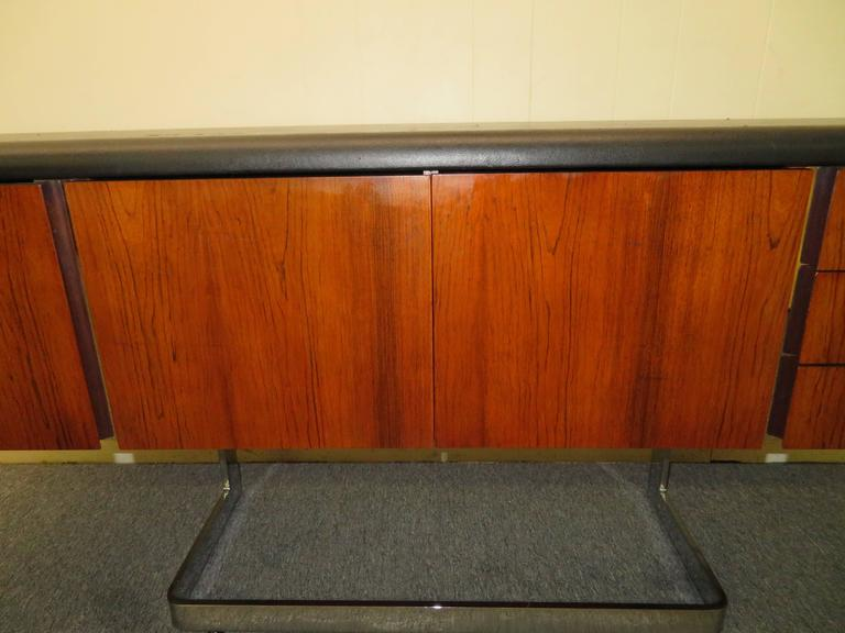Mid-Century Modern Fabulous Rosewood and Chrome Credenza by Ste. Marie & Laurent For Sale