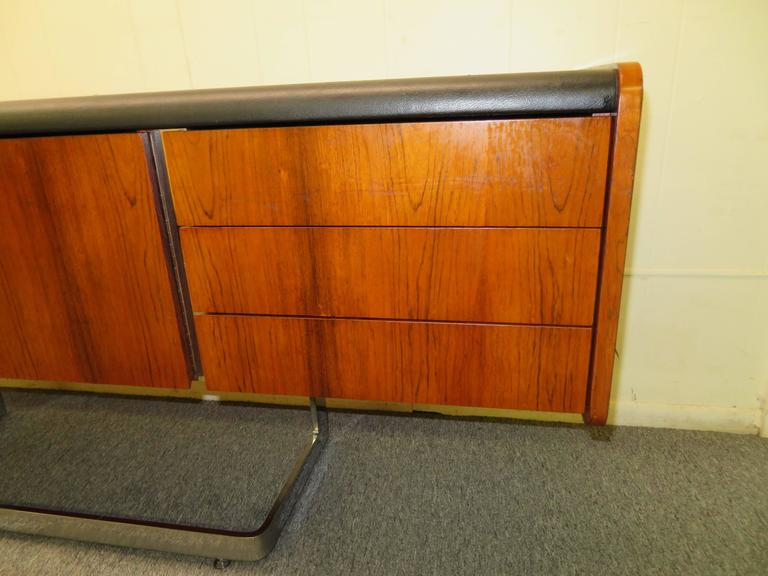 Canadian Fabulous Rosewood and Chrome Credenza by Ste. Marie & Laurent For Sale