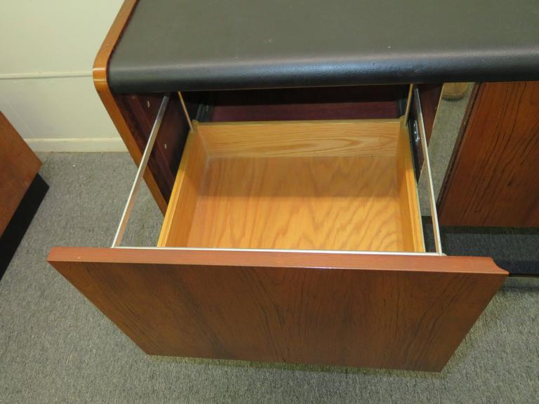Faux Leather Fabulous Rosewood and Chrome Credenza by Ste. Marie & Laurent For Sale