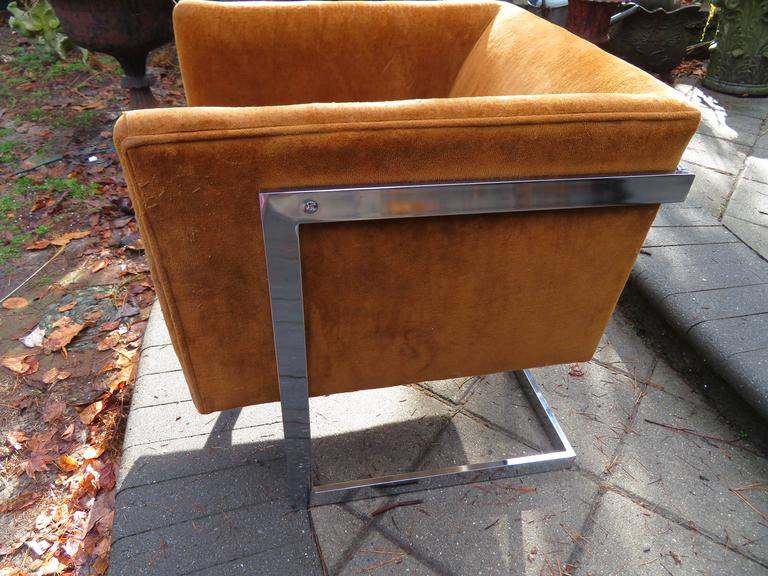 American Petite Milo Baughman Chrome Cube Lounge Chair, Mid-Century Modern For Sale
