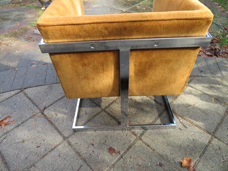 Petite Milo Baughman Chrome Cube Lounge Chair, Mid-Century Modern In Good Condition For Sale In Medford, NJ