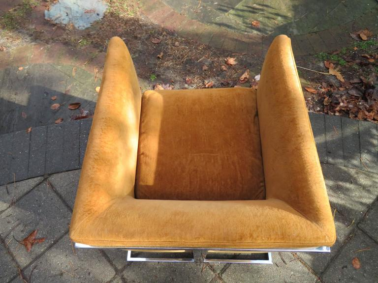 Mid-20th Century Petite Milo Baughman Chrome Cube Lounge Chair, Mid-Century Modern For Sale