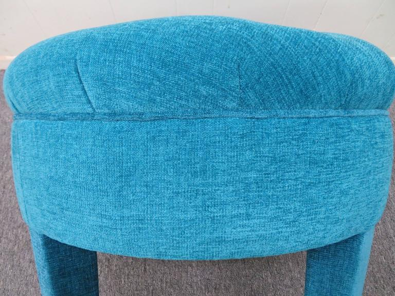 Excellent Mid Century Round Tufted Pouf Upholstered