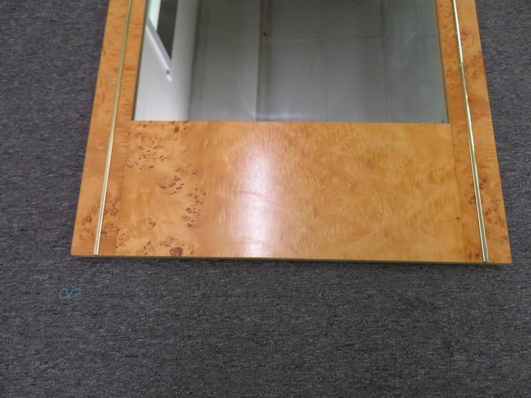 Milo Baughman Style Burled Olivewood Brass Mirror, Mid-Century Modern 2