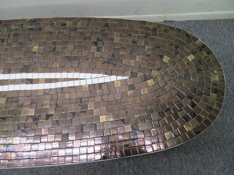 Classic Mid Century Tile Mosaic Top Oval Coffee Table For Sale At 1stdibs