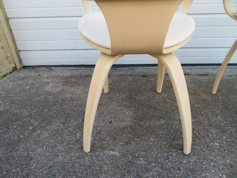 Faux Leather Lovely Pair of Norman Cherner Plycraft Pretzel Chairs, Mid-Century Modern For Sale