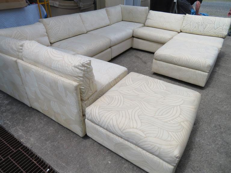 Spectacular Milo Baughman style eight-piece sectional sofa with sleeper sofa. The double seat piece on the right opens up to create a queen-size pull-out sleeper-how fabulous is that! Looks like it has never been used and is in great condition-still