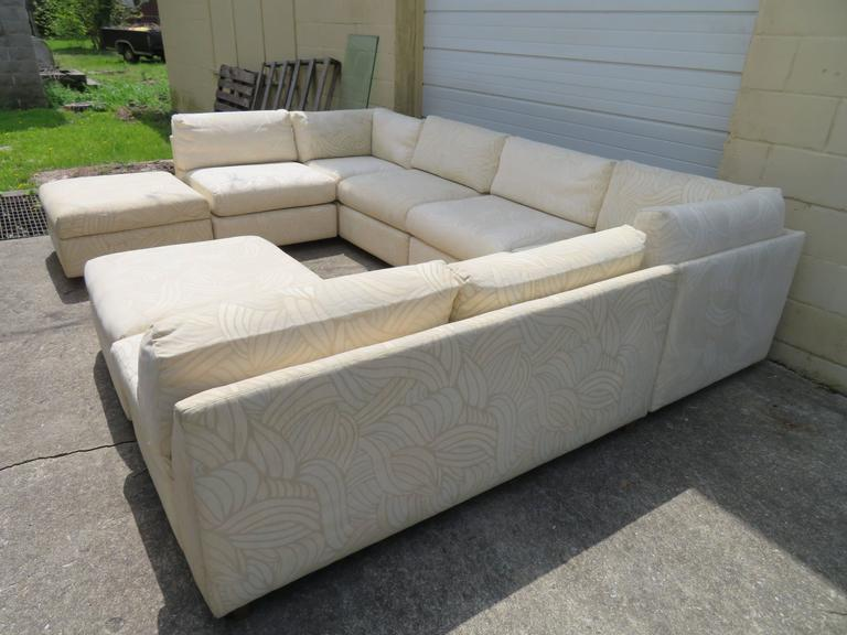 Late 20th Century Spectacular Milo Baughman Style Eight-Piece Sectional Sofa Sleeper Mid-Century For Sale