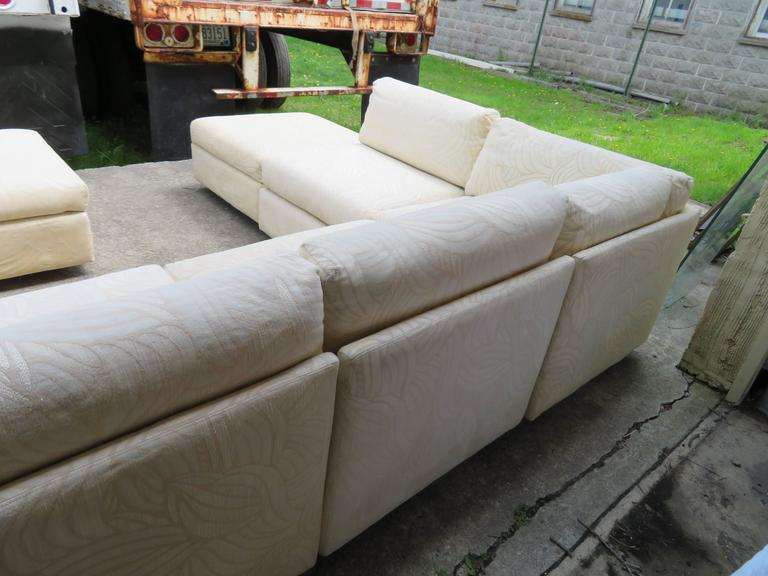 Upholstery Spectacular Milo Baughman Style Eight-Piece Sectional Sofa Sleeper Mid-Century For Sale