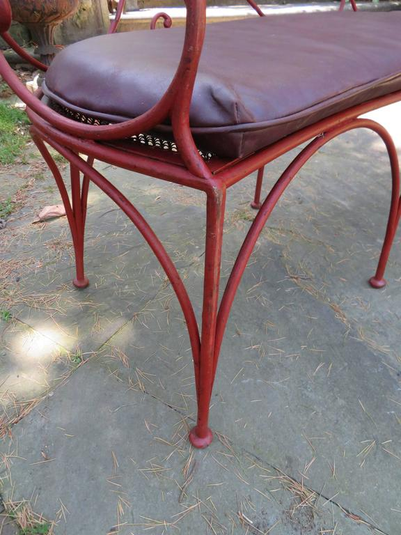 Charming Curved Scrolled Iron Garden Patio Bench Mid