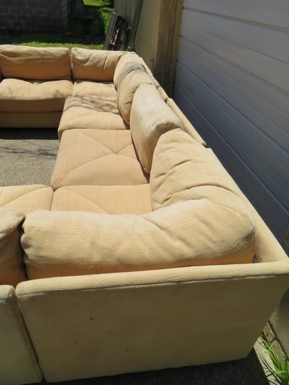Huge Milo Baughman Style Ten Piece Section Sofa Pit Mid
