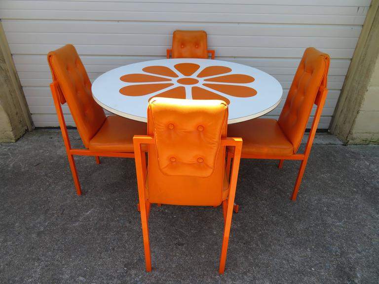 Fun Orange Slice 1960s Dining Table Four Chairs Probber