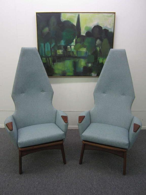 Pair Of Adrian Pearsall High Back Chairs Mid Century