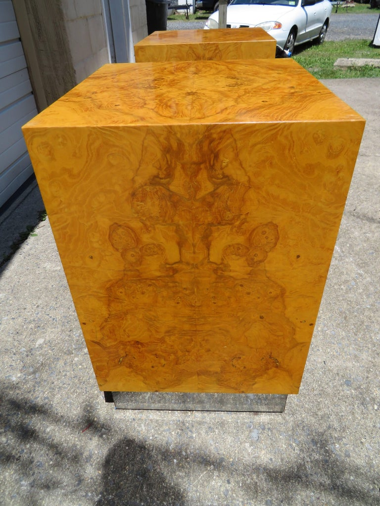 Magnificent Milo Baughman Double Pedestal Olive Wood Cube Base ...