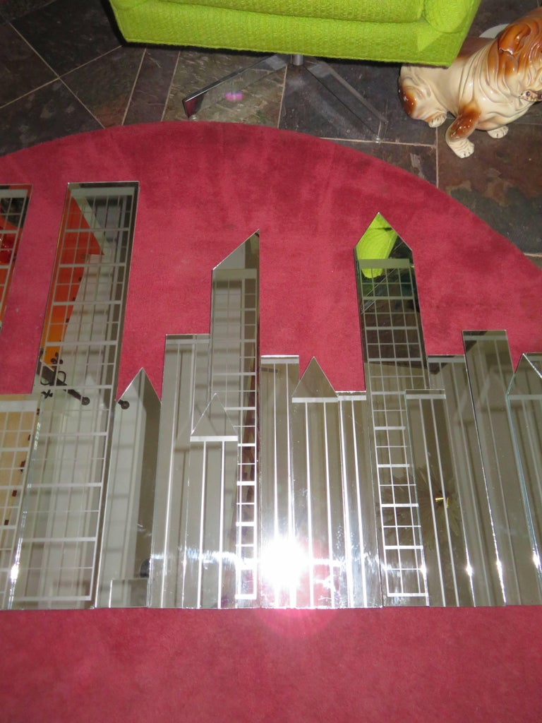 Fabulous Four Piece Nyc Skyline Mirror Wall Sculpture Mid