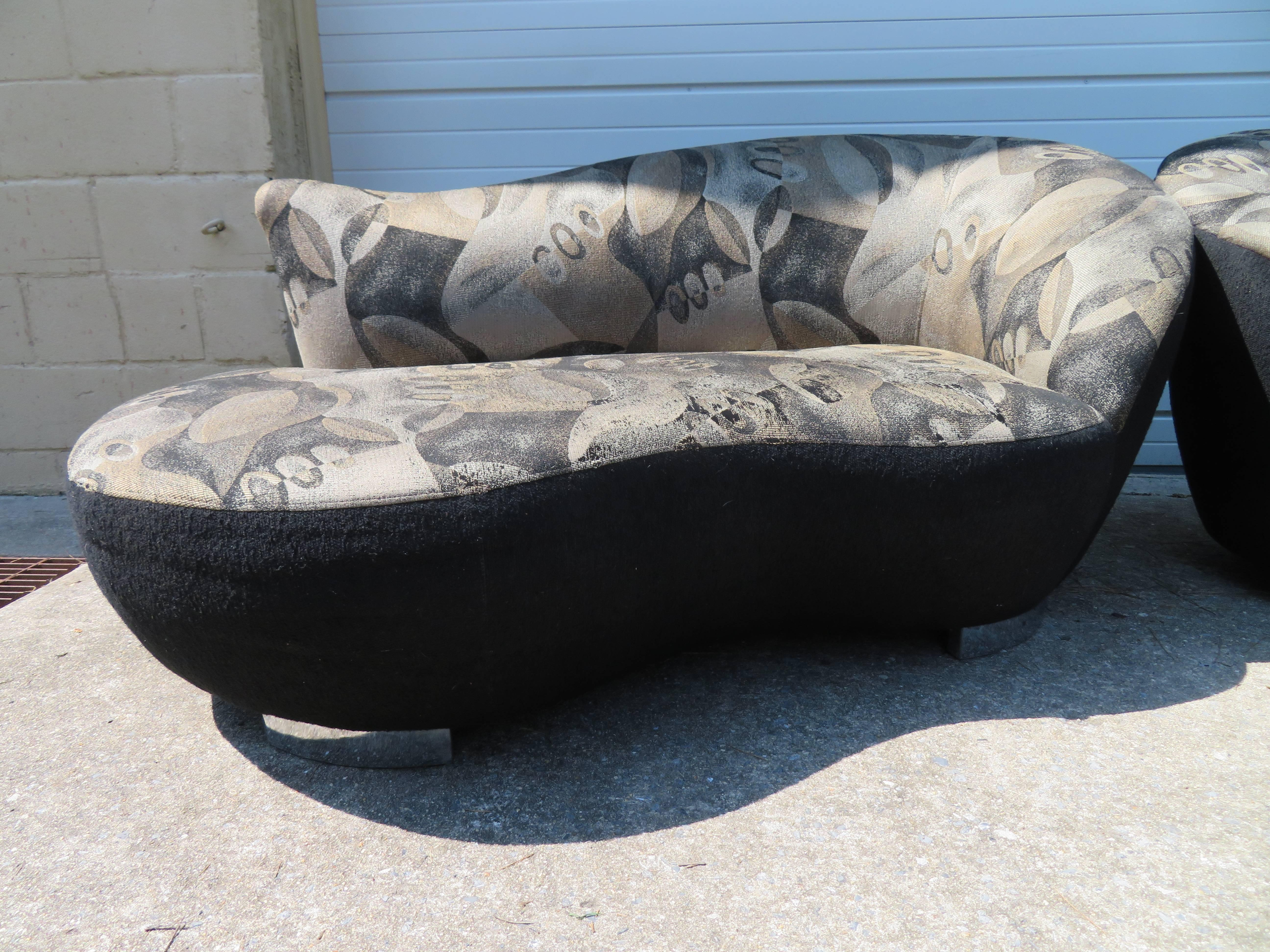 stunning pair of petite vladimir kagan style cloud kidney shaped sofa loveseat 2