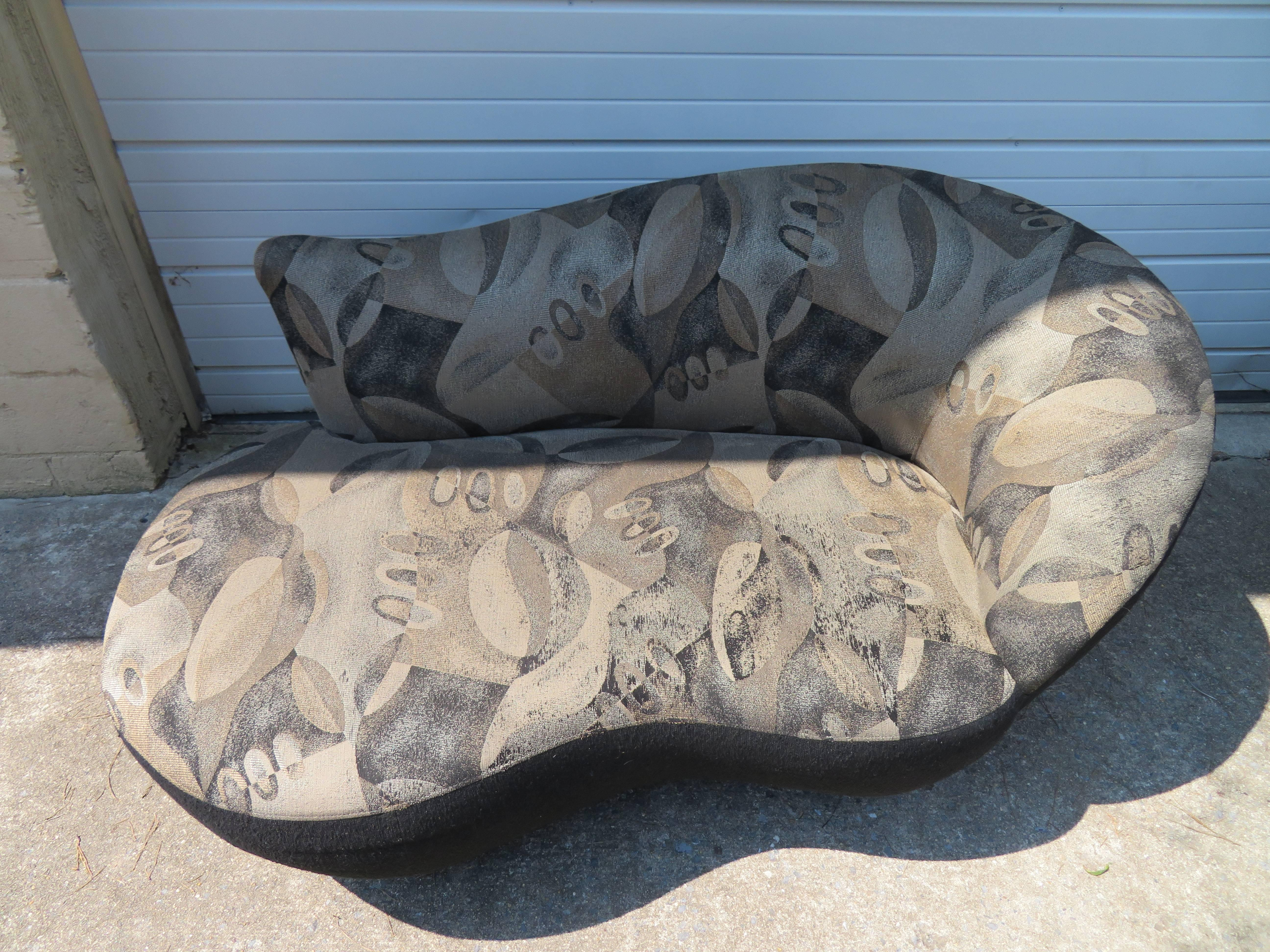 stunning pair of petite vladimir kagan style cloud kidney shaped sofa loveseat 3