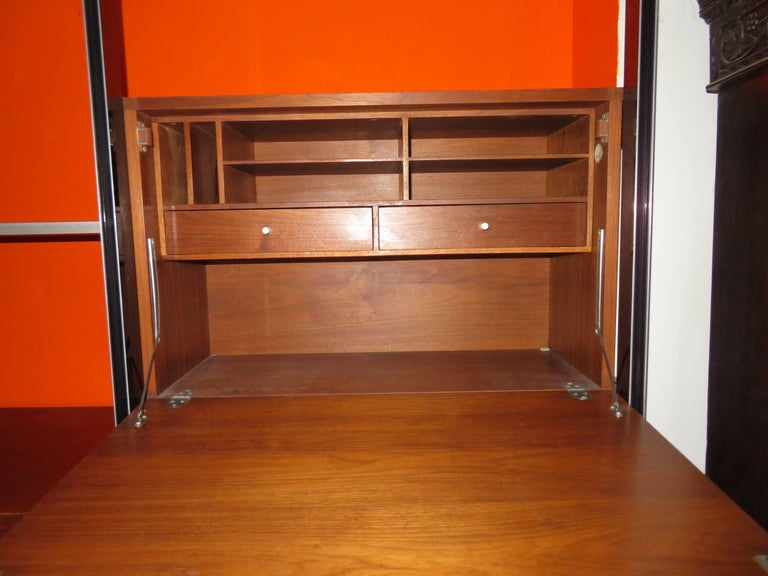 Aluminum Two Bay Css Wall Unit Walnut by George Nelson Herman Millerm, Mid-Century For Sale