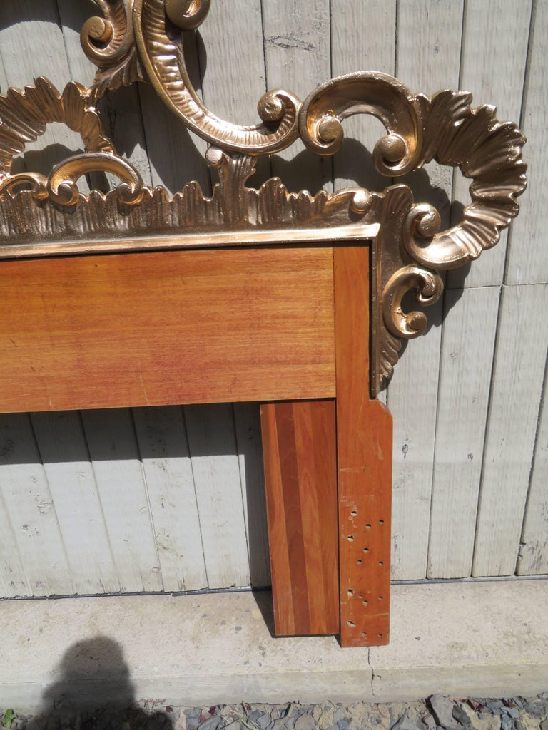 Mid-20th Century Hollywood Regency Ornate Cast Metal Antique Italian Gilded King-Size Headboard For Sale