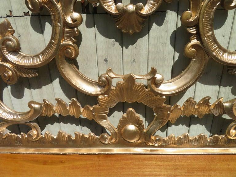 Hollywood Regency Ornate Cast Metal Antique Italian Gilded King-Size Headboard For Sale 1
