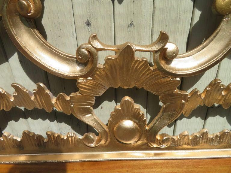Hollywood Regency Ornate Cast Metal Antique Italian Gilded King-Size Headboard For Sale 4