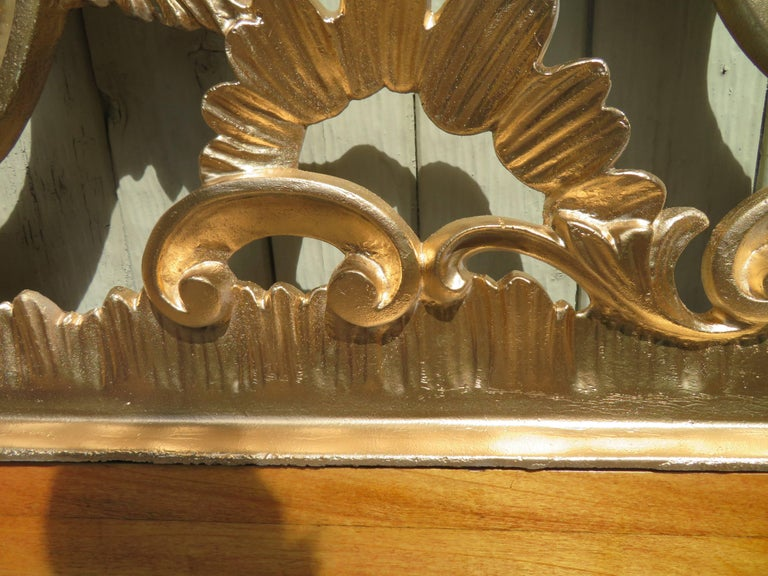 Hollywood Regency Ornate Cast Metal Antique Italian Gilded King-Size Headboard For Sale 5
