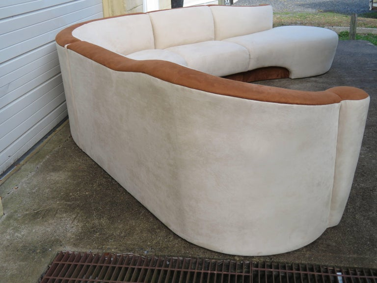 Upholstery Four-Piece Curved Serpentine Sectional Sofa Weiman For Sale
