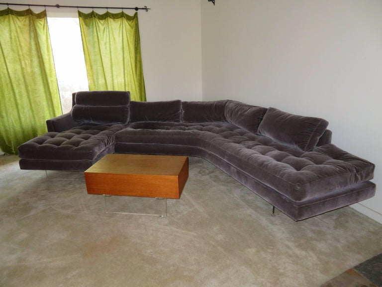 Gorgeous two-piece Omnibus sectional sofa with matching light wood coffee table by Vladimir Kagan, USA, circa 1975. Loose seat and back cushions filled with a down blend make these pieces exceptionally comfortable. Upholstered about 20 years ago in