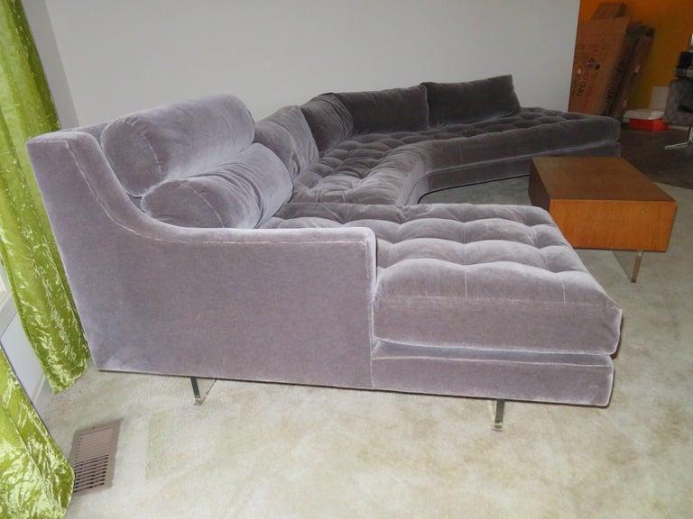American Stunning Vladimir Kagan Three-Piece Omnibus Sectional Sofa Coffee Table For Sale
