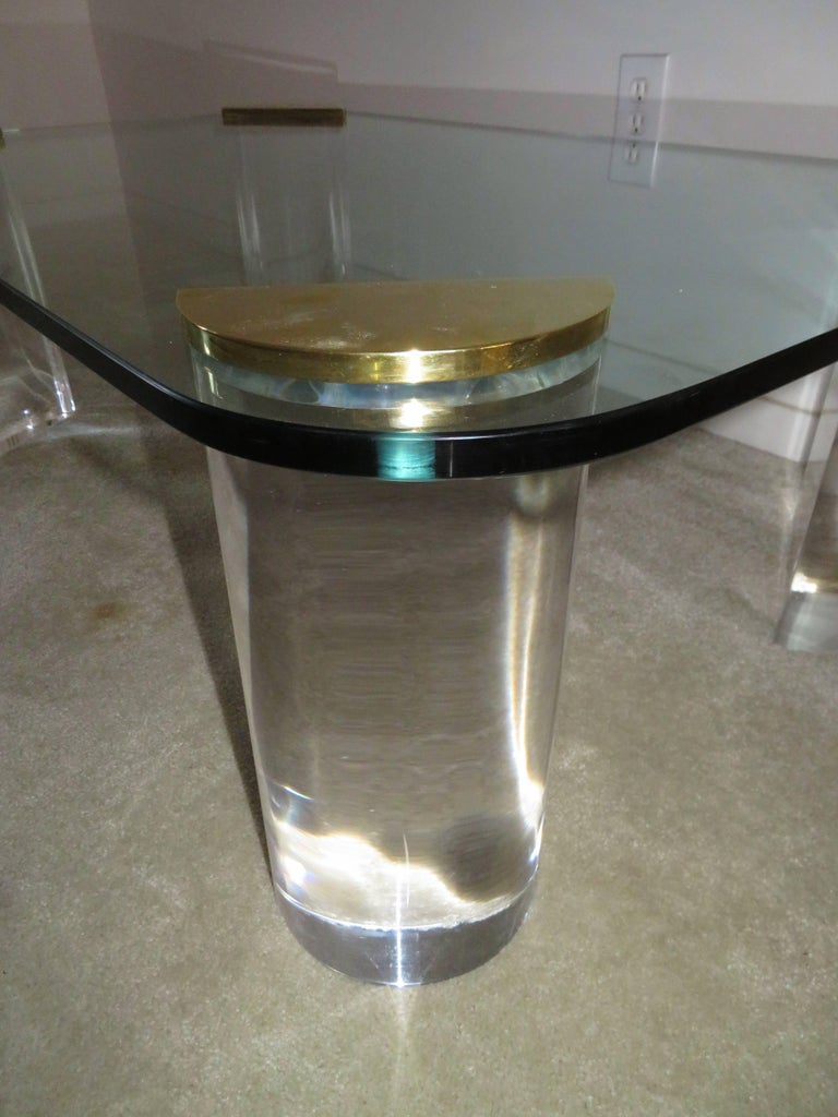American Chunky Lucite Brass Coffee Table Midcentury For Sale
