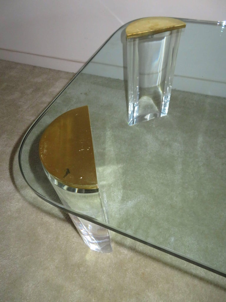 Chunky Lucite Brass Coffee Table Midcentury For Sale 1