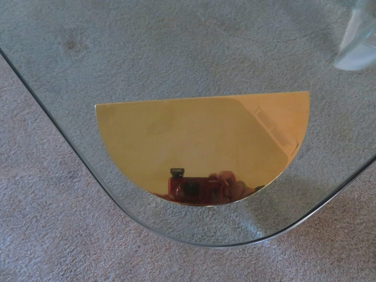 Mid-Century Modern Chunky Lucite Brass Coffee Table Midcentury For Sale