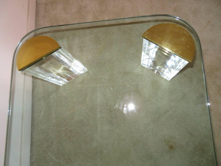Late 20th Century Chunky Lucite Brass Coffee Table Midcentury For Sale